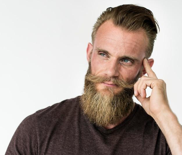 Adult guy thinking hand gesture portrait