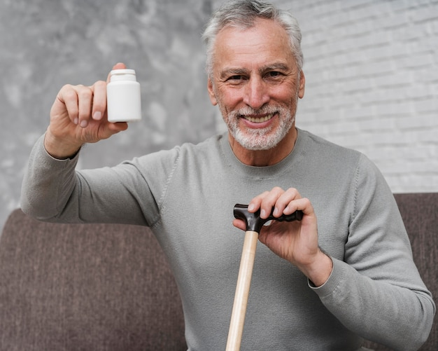 Adult male holding medical treatment
