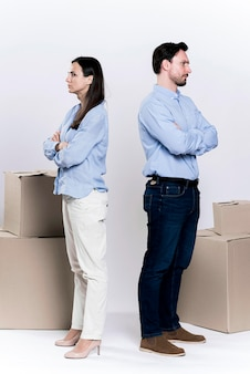 Adult male and woman divorcing each other