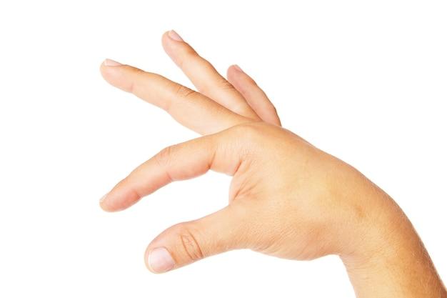 흰색 절연 뭔가를 잡고 성인 남자 손