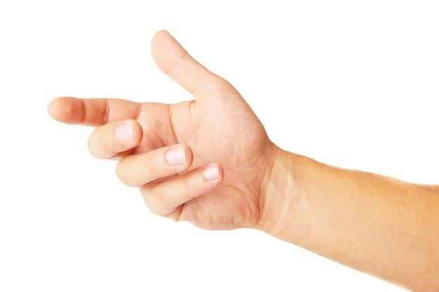 흰색 절연 전화 같은 것을 들고 성인 남자 손