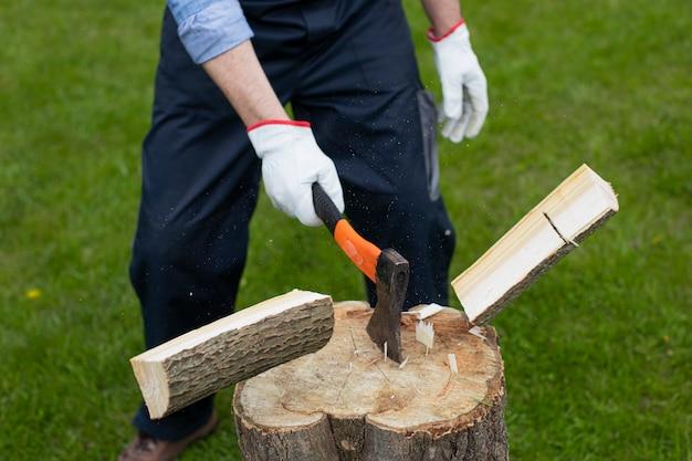 大人の男は斧で木を切り刻んでいます