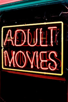 Adult movies neon sign