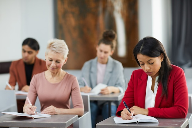 Adult students in class