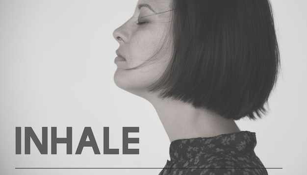 Adult woman with inhale life motivation word