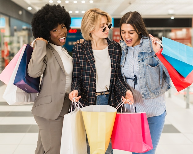 Adult women happy shopping together