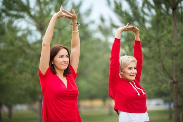 Взрослые женщины в спортивной одежде делают упражнения в парке летом