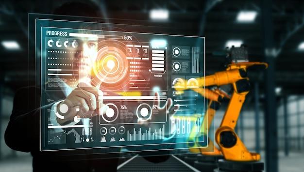 디지털 산업 및 공장 로봇 기술을위한 고급 로봇 암 시스템 프리미엄 사진
