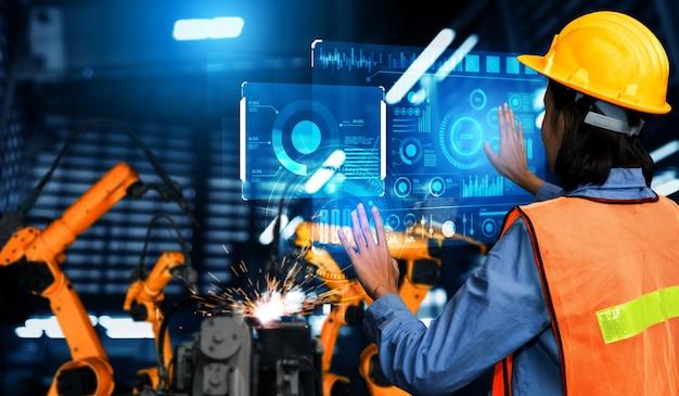Усовершенствованная система манипуляторов для цифровой промышленности и заводской робототехники Premium Фотографии