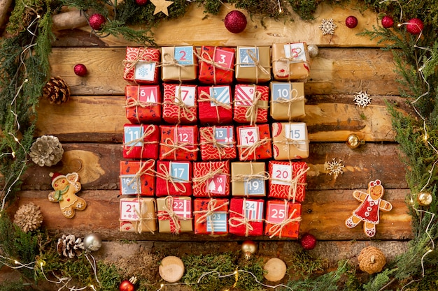 Advent calendar with numbered small gifts