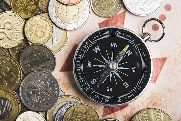 Adventure background with compass and coins