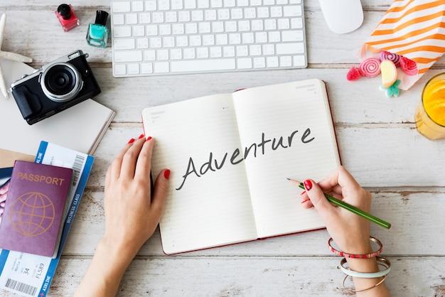 Viaggio di esplorazione di avventura viaggio di destinazione di viaggio concept