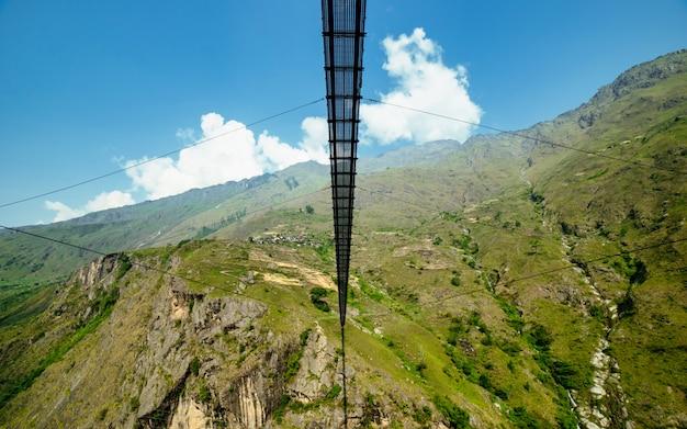 Adventure suspension bridge at gorkha, nepal.