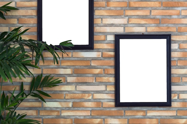 Advertise frame on brick wall background