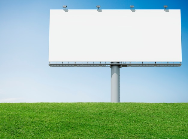 Advertisement bill board with green grass