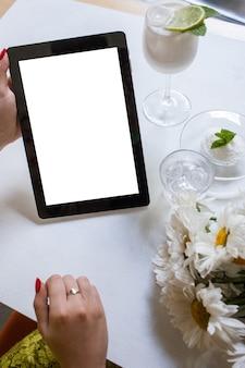 Advertisement e-commerce marketing tablet gadget modern technology concept.