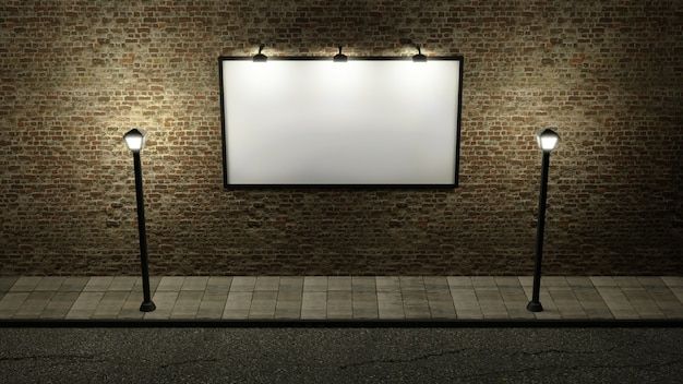 밤에 두 개의 가로등이있는 거리의 벽돌 벽에 광고 게시판