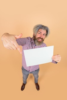 Advertising board copy space for text advertising banner smiling man with blank board space for text