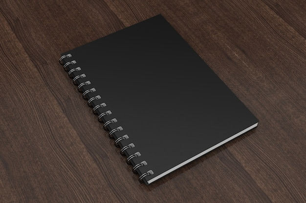 Advertising or branding template blank notebook black mockups on a wooden table. 3d rendering.