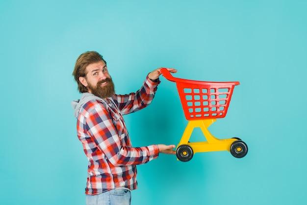 ショッピングスーパーマーケットショッピングセール割引ブラックフライデー購入購入まくる広告男