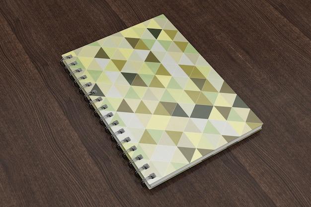 木製のテーブルの上の広告またはブランディングテンプレート空白のノートブックモックアップ。 3dレンダリング。