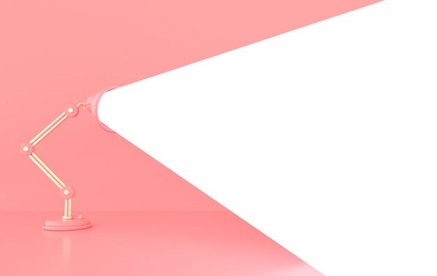 ランプライト付きの広告ポスター、テキスト用のスペースのある3dレンダリングイラスト