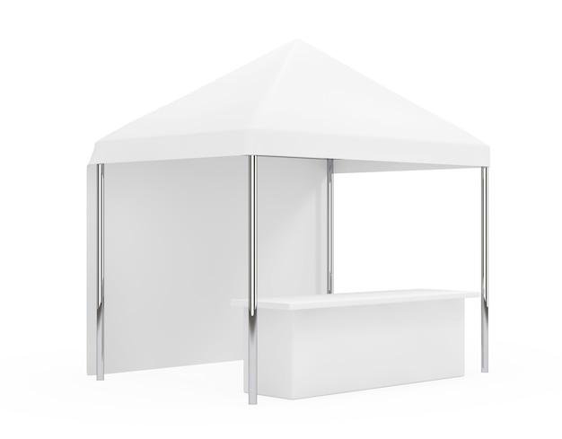 광고 판촉 야외 모바일 캐노피 텐트 흰색 배경에. 3d 렌더링