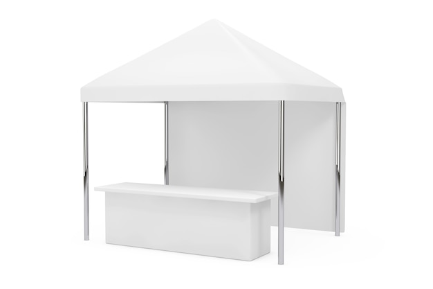 Advertising promotional outdoor mobile canopy tent on a white background. 3d rendering