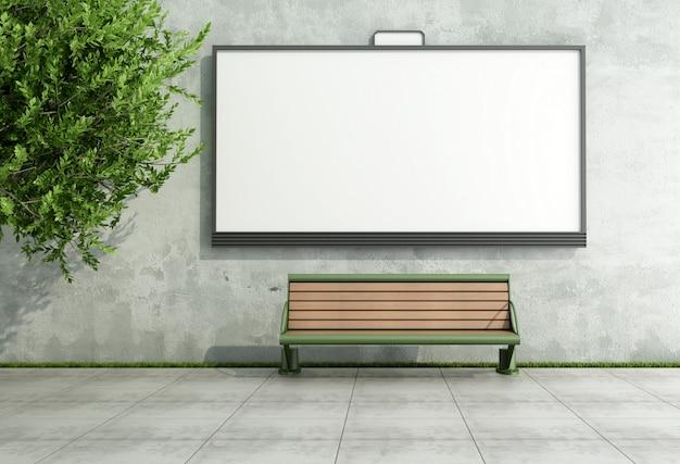 Рекламный уличный рекламный щит на стене гранж со скамейкой