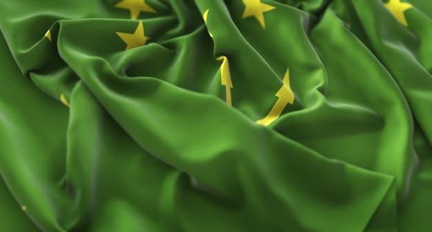 Bandiera di adygea increspato splendente ondeggiare macro close-up shot