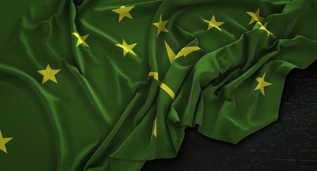 Bandiera adygea rugosa su sfondo scuro 3d rendering