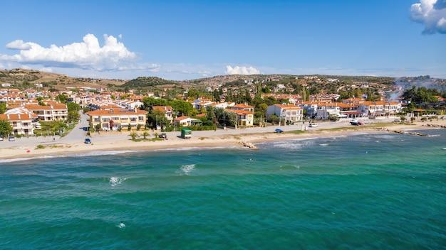 Aegean sea coast of greece, view of nikiti from the drone, multiple buildings
