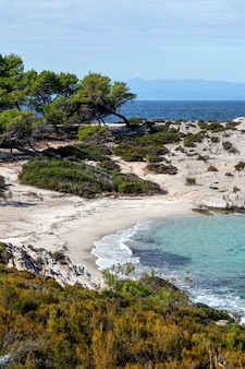 주변의 녹지, 바위, 관목 및 나무, 파도가있는 푸른 물, 그리스가있는에게 해 해안