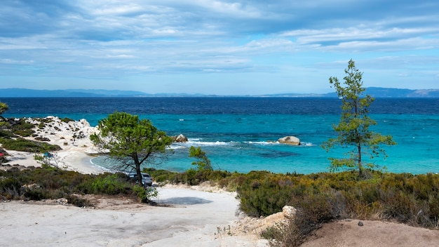 Aegean sea coast with greenery around, rocks and bushes, blue water with waves, greece