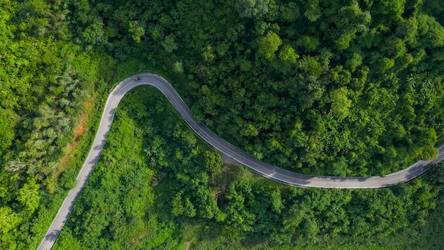 С высоты птичьего полета зеленый горный лес в сезон дождей и изогнутая дорога на холме, соединяющем сельскую местность