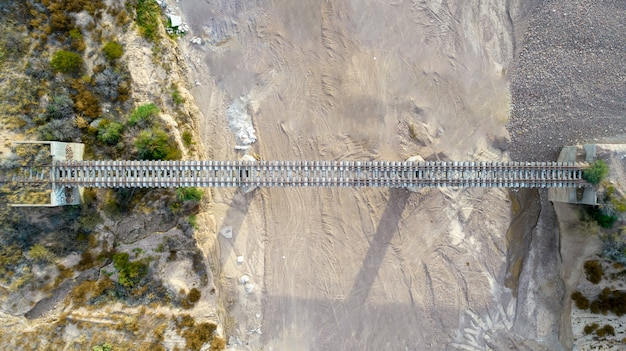 Aerial aerial view of old train bridge