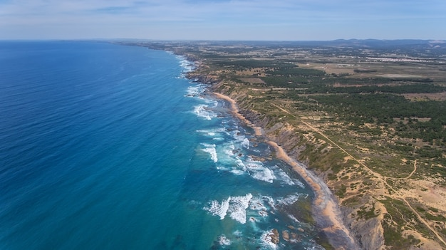 Aerial. amoreira beach on the shore of alzhezur. costa vicentiva
