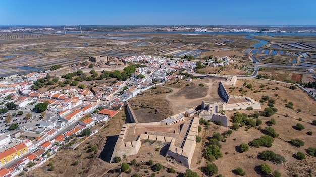 Aerial. ancient walls of the military settlement of the castle castro marim, portugal