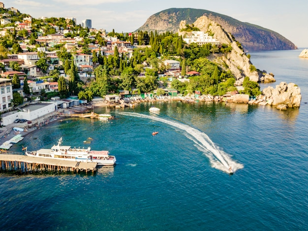 Aerial aqua jet ski in the europe city sea bay near the coast