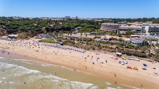 Aerial. beach at olhos de agua portugal