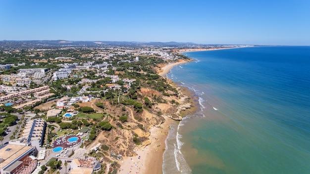 Aerial. beach at olhos de agua in portugal.