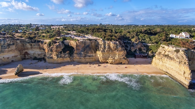 Aerial. beautiful portuguese beaches marinha, albufeira view from the sky.