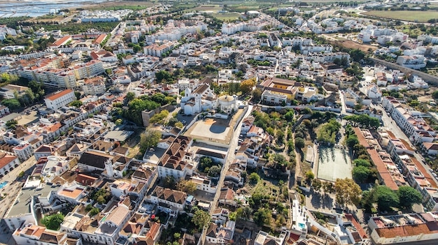 Aerial. the best tourist places of the town of tavira. view from the sky.