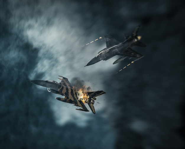 Aerial combat in the clouds
