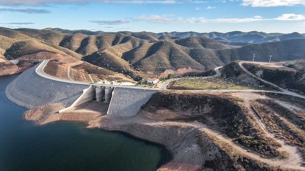 Aerial. dam and sluices of the reservoir odelouca.