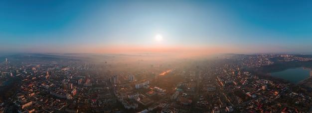 Aerial drone panorama view of chisinau, moldova at sunrise.