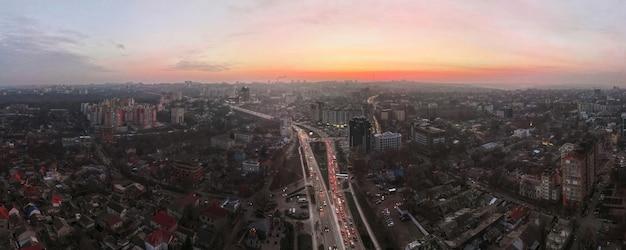 Aerial drone panorama view of chisinau, moldova at sunset.
