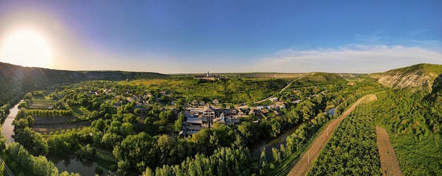 Aerial drone panoramic view of a nature in moldova