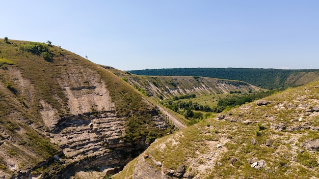 Aerial drone panoramic view of a valley in moldova