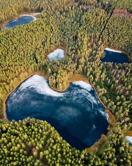 Aerial drone photo of a partly frozen lake surrounded with forest